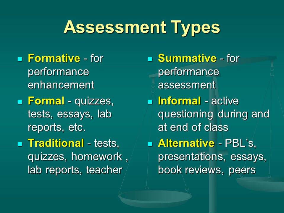Assessment Types Formative - for performance enhancement Formative - for performance enhancement Formal - quizzes, tests, essays, lab reports, etc.
