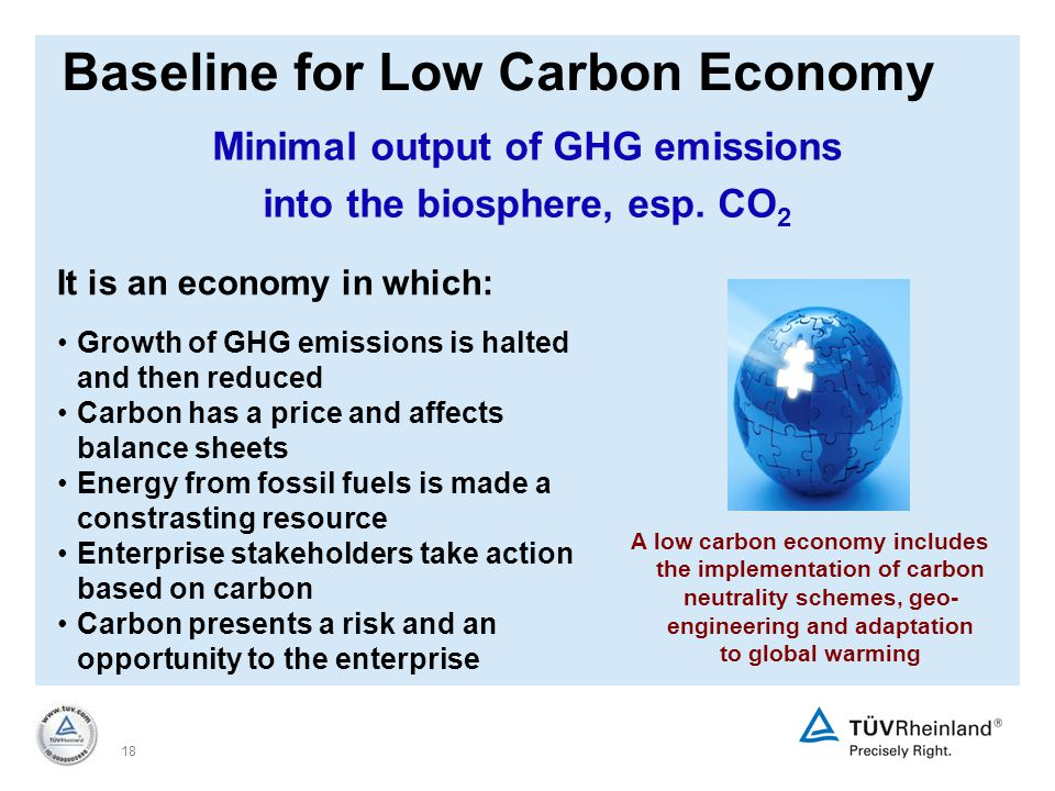 18 Baseline for Low Carbon Economy It is an economy in which: Growth of GHG emissions is halted and then reduced Carbon has a price and affects balance sheets Energy from fossil fuels is made a constrasting resource Enterprise stakeholders take action based on carbon Carbon presents a risk and an opportunity to the enterprise A low carbon economy includes the implementation of carbon neutrality schemes, geo- engineering and adaptation to global warming Minimal output of GHG emissions into the biosphere, esp.