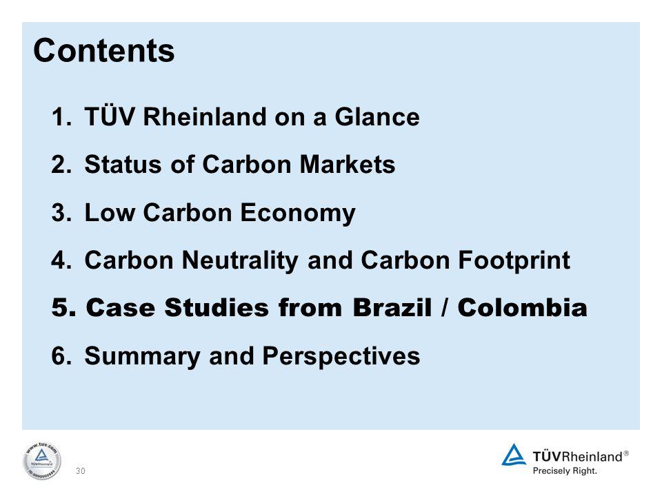 30 1.TÜV Rheinland on a Glance 2. Status of Carbon Markets 3.