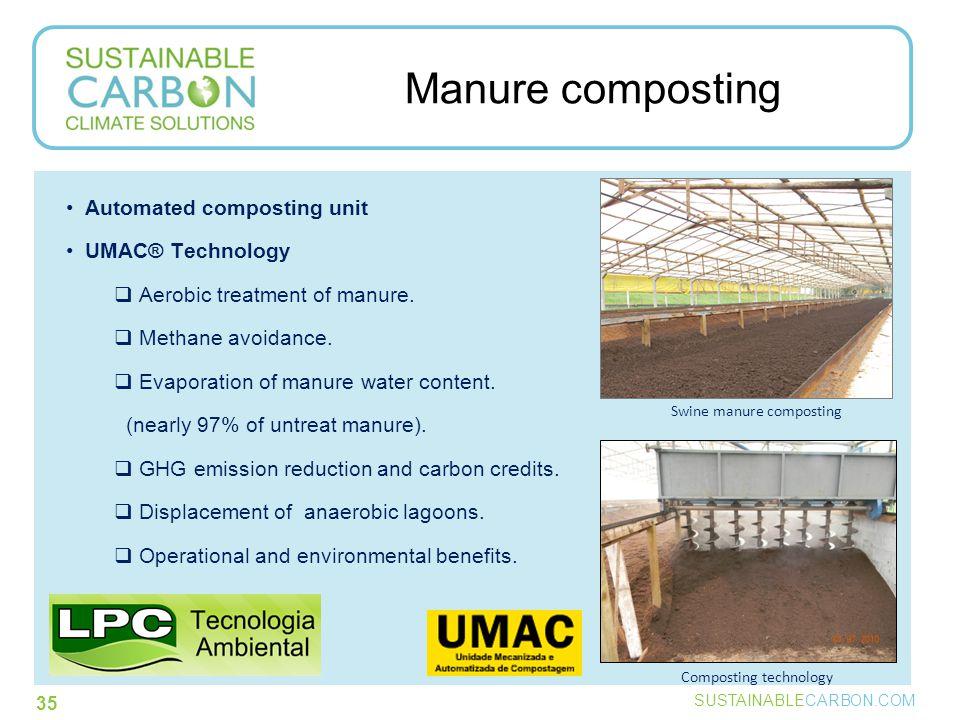 SUSTAINABLECARBON.COM 35 Manure composting Composting technology Swine manure composting Automated composting unit UMAC® Technology  Aerobic treatment of manure.