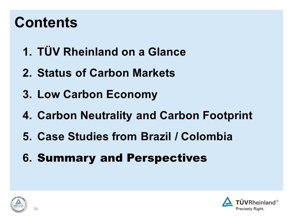 39 1.TÜV Rheinland on a Glance 2. Status of Carbon Markets 3.