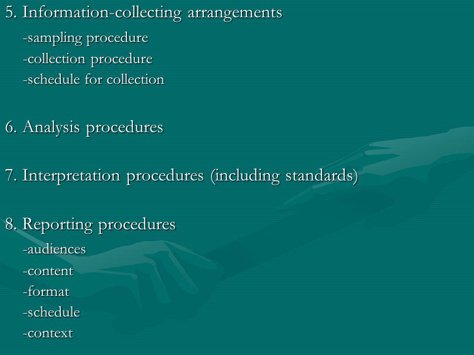5. Information-collecting arrangements -sampling procedure -collection procedure -schedule for collection 6. Analysis procedures 7. Interpretation pro