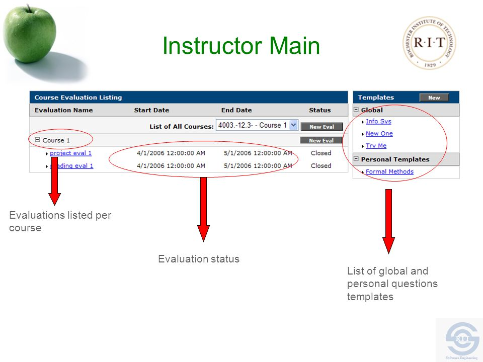 Instructor Main List of global and personal questions templates Evaluation status Evaluations listed per course