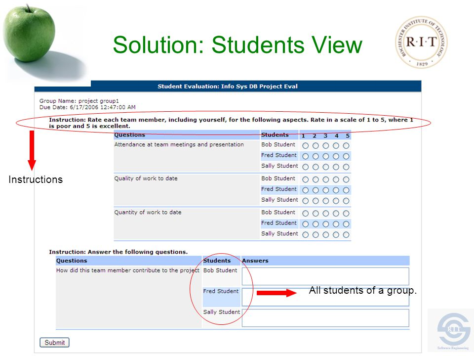 Solution: Students View Instructions All students of a group.