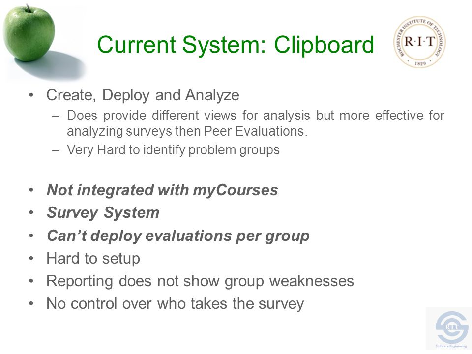 Current System: Clipboard Create, Deploy and Analyze –Does provide different views for analysis but more effective for analyzing surveys then Peer Evaluations.