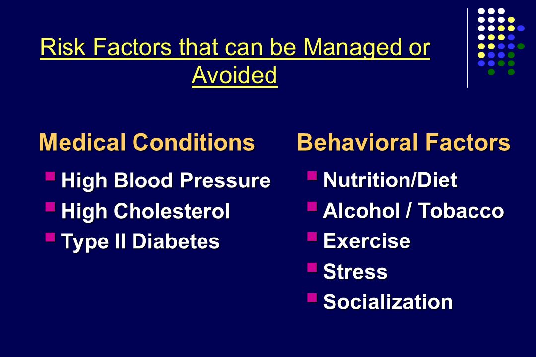 Risk Factors that can be Managed or Avoided Medical Conditions  High Blood Pressure  High Cholesterol  Type II Diabetes  Nutrition/Diet  Alcohol / Tobacco  Exercise  Stress  Socialization Behavioral Factors