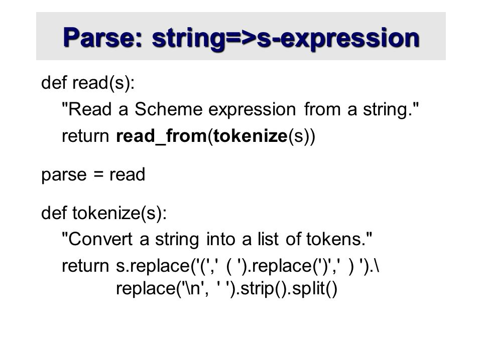 Parse: string=>s-expression def read(s):