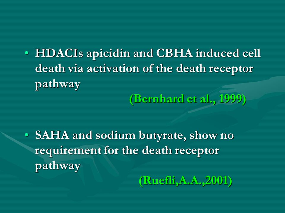 HDACIs apicidin and CBHA induced cell death via activation of the death receptor pathway (Bernhard et al., 1999)HDACIs apicidin and CBHA induced cell