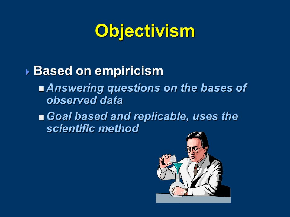 Objectivism  Based on empiricism  Answering questions on the bases of observed data  Goal based and replicable, uses the scientific method