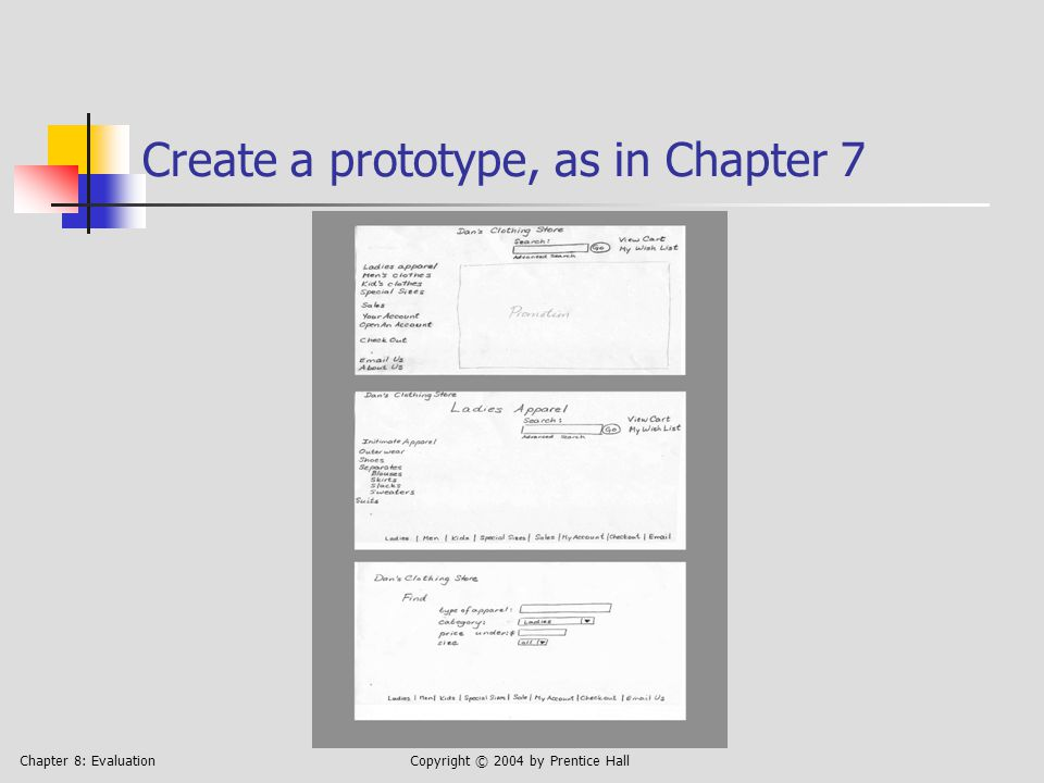 Chapter 8: EvaluationCopyright © 2004 by Prentice Hall Create a prototype, as in Chapter 7