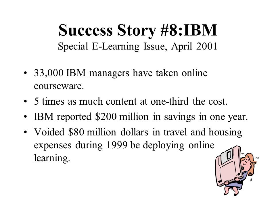 Success Story #7. Ratheon, Build Own LMS (John Hartnett, Online Learning, Summer 2002) SAP Training Choice: Vendor ($390,000) or Build Internally ($13