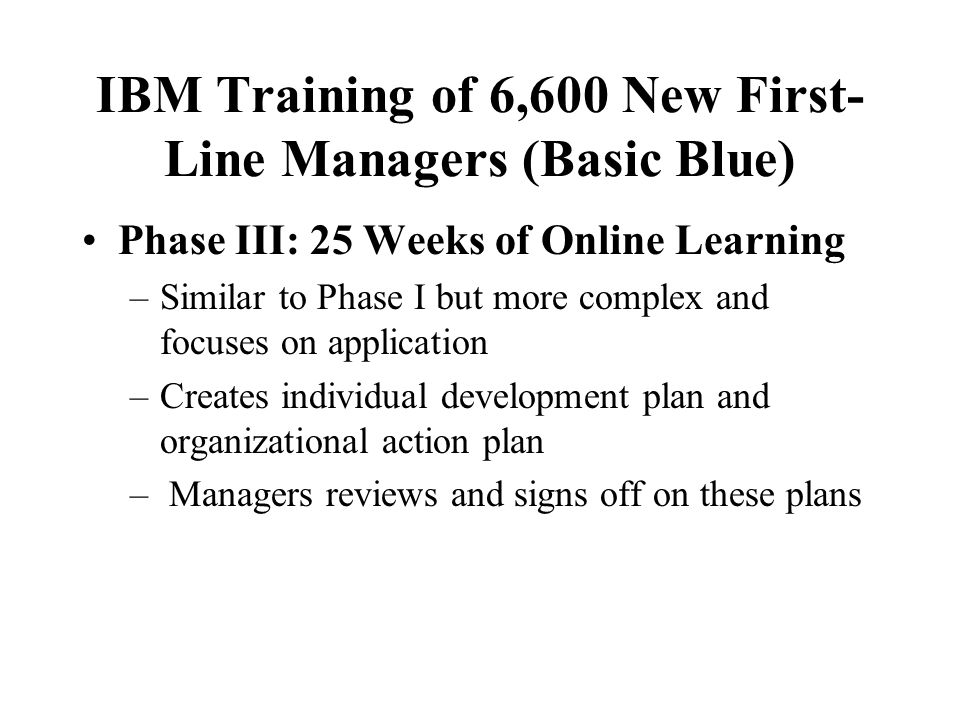 IBM Training of 6,600 New First- Line Managers (Basic Blue) Phase II: In-class 5 day learning lab –Experiential higher order learning –Bring real-life