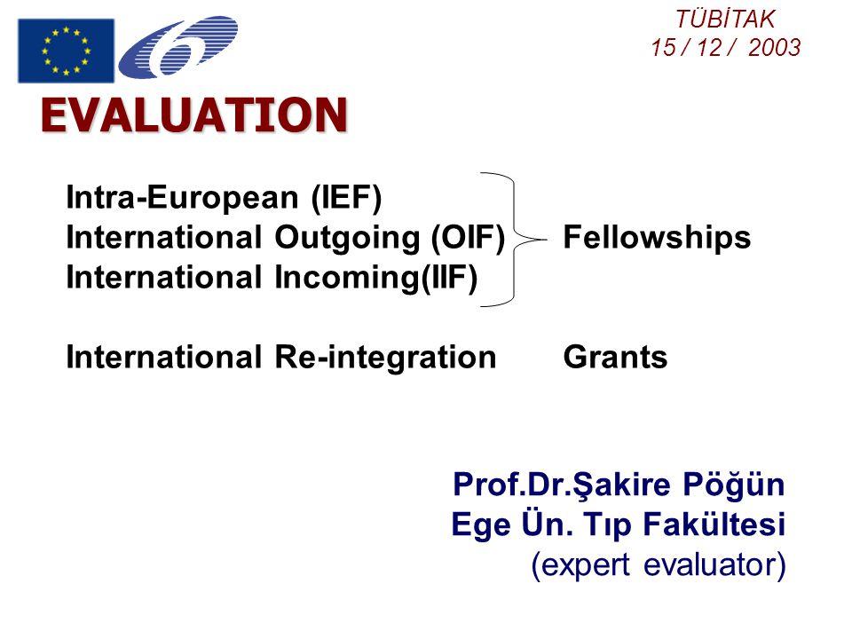 EVALUATION Prof.Dr.Şakire Pöğün Ege Ün. Tıp Fakültesi (expert evaluator) Intra-European (IEF) International Outgoing (OIF) Fellowships International I