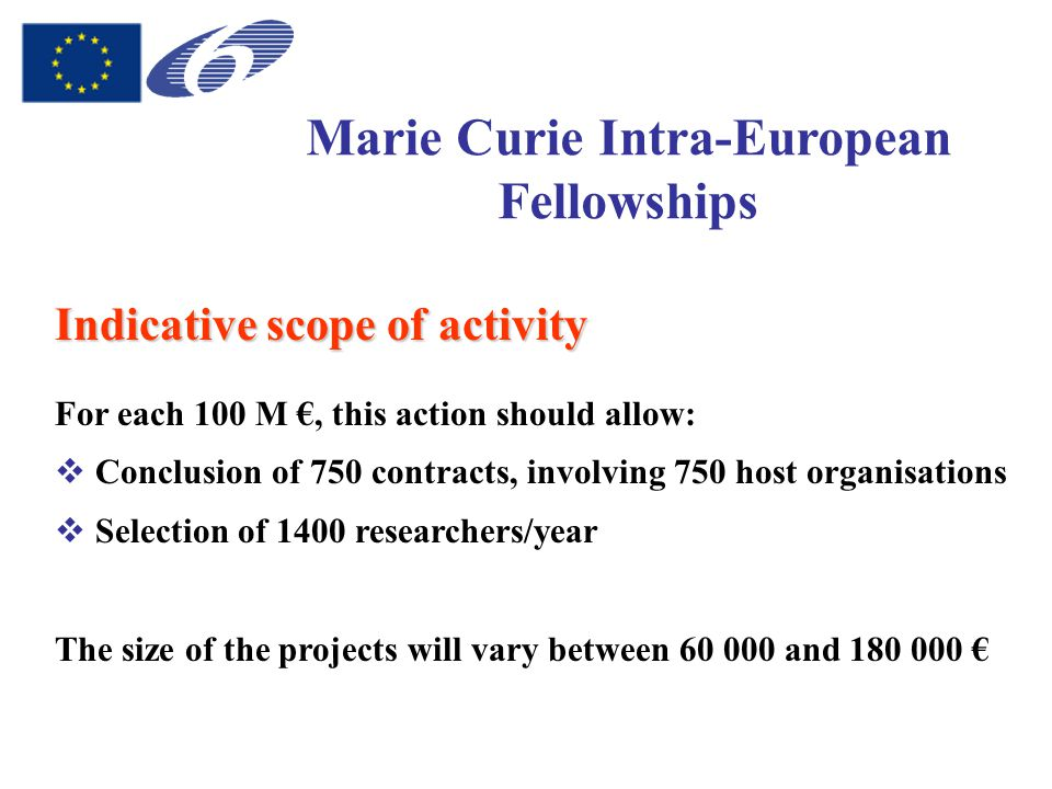 Marie Curie Intra-European Fellowships Indicative scope of activity For each 100 M €, this action should allow:  Conclusion of 750 contracts, involving 750 host organisations  Selection of 1400 researchers/year The size of the projects will vary between 60 000 and 180 000 €
