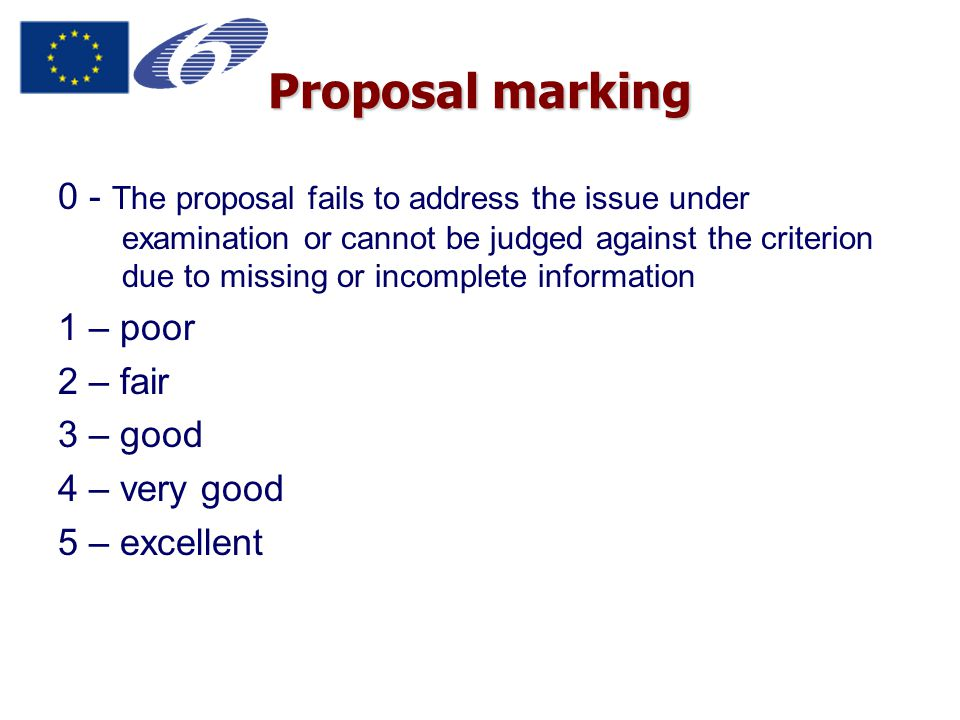 Proposal marking 0 - The proposal fails to address the issue under examination or cannot be judged against the criterion due to missing or incomplete