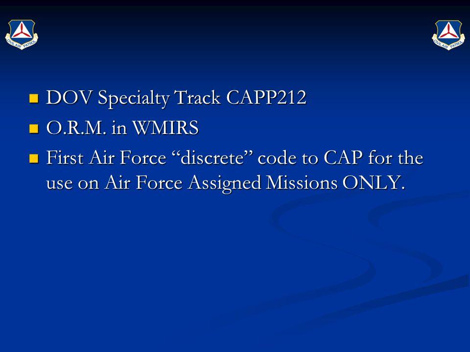 DOV Specialty Track CAPP212 DOV Specialty Track CAPP212 O.R.M.