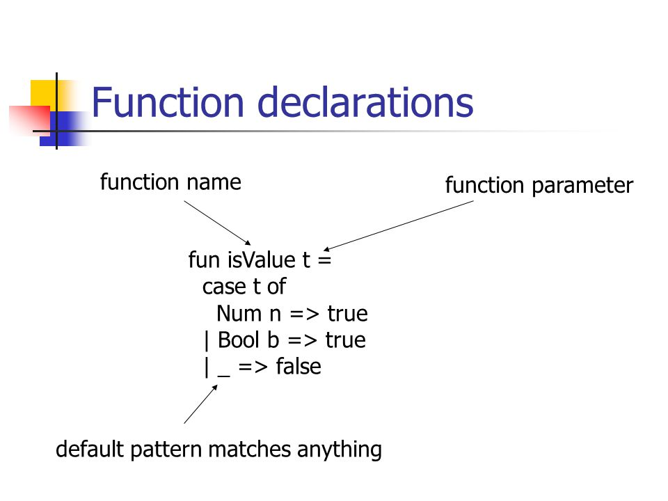 Function declarations fun isValue t = case t of Num n => true | Bool b => true | _ => false function name function parameter default pattern matches anything