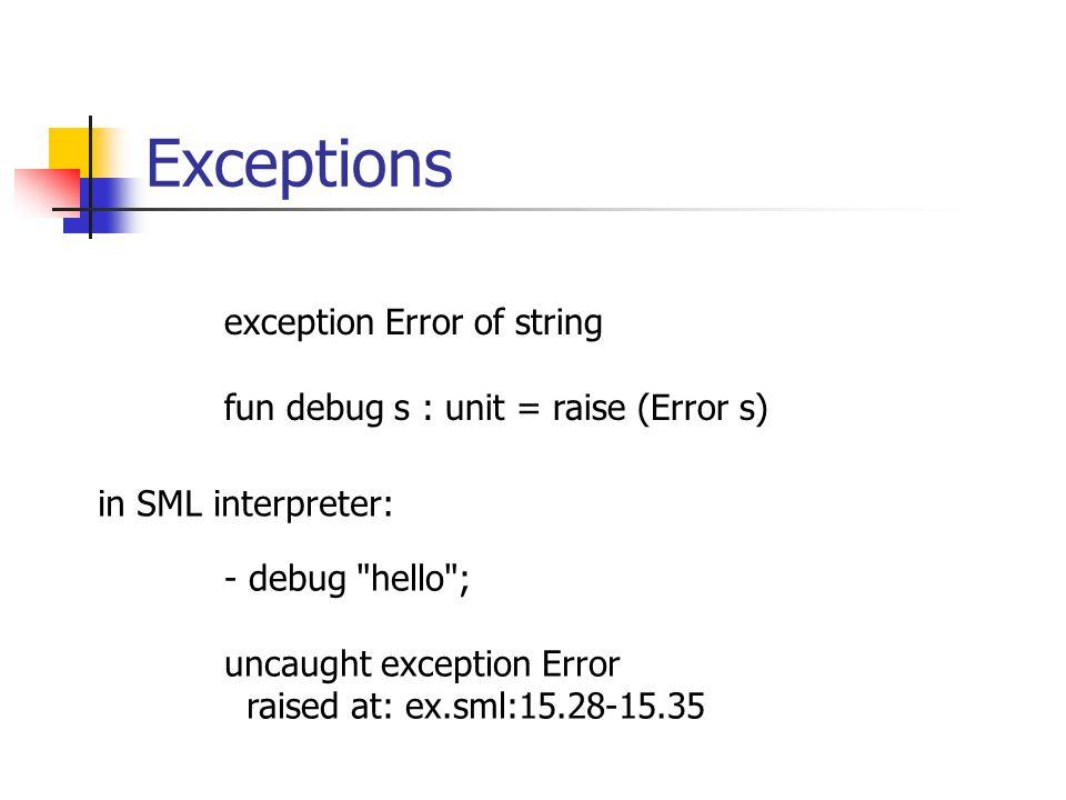 Exceptions exception Error of string fun debug s : unit = raise (Error s) - debug