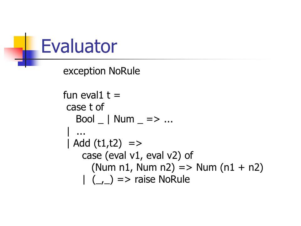 Evaluator exception NoRule fun eval1 t = case t of Bool _ | Num _ =>... |... | Add (t1,t2) => case (eval v1, eval v2) of (Num n1, Num n2) => Num (n1 +