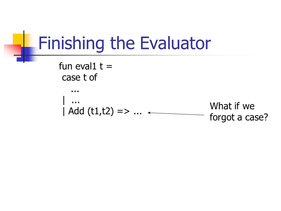 Finishing the Evaluator fun eval1 t = case t of... |... | Add (t1,t2) =>... What if we forgot a case?