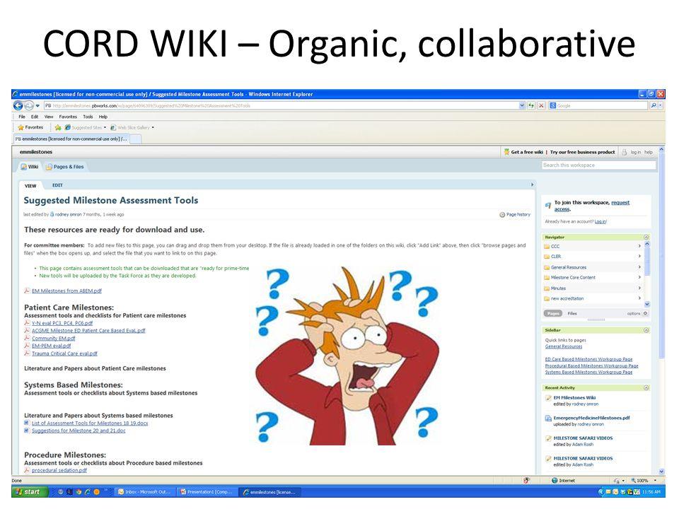 CORD WIKI – Organic, collaborative