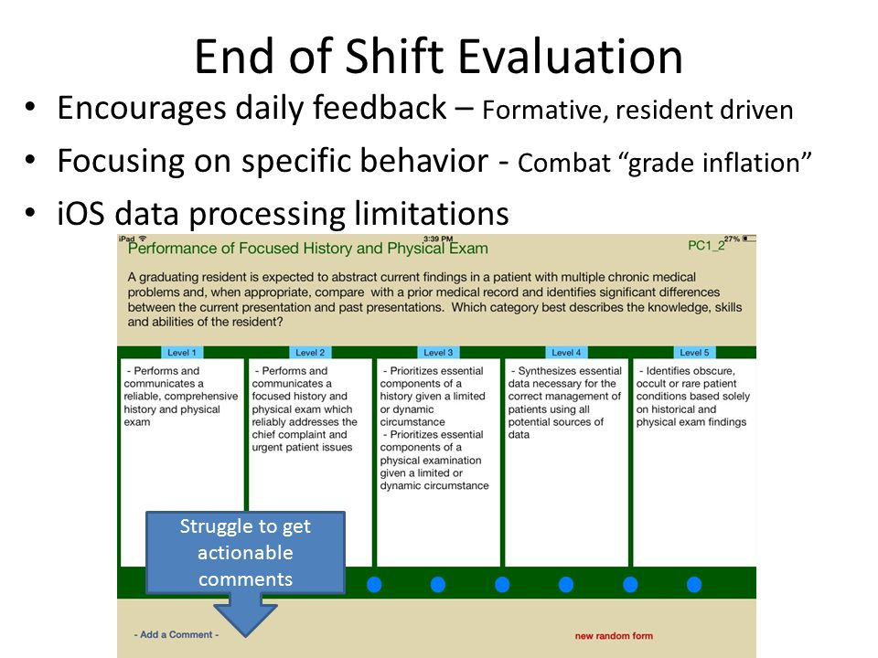 End of Shift Evaluation Encourages daily feedback – Formative, resident driven Focusing on specific behavior - Combat grade inflation iOS data processing limitations Struggle to get actionable comments