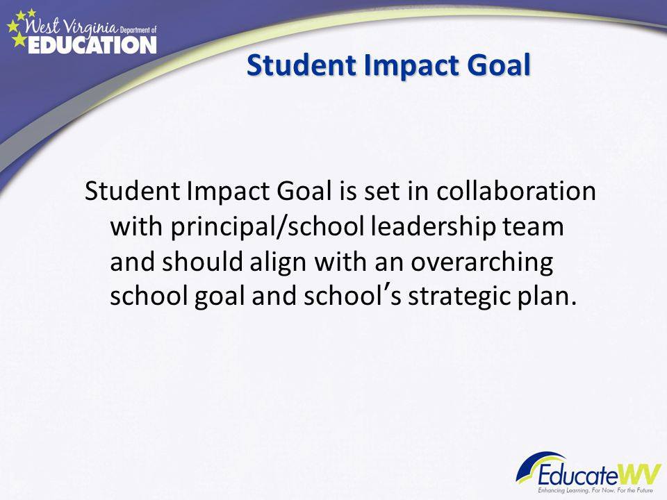 Student Impact Goal Student Impact Goal is set in collaboration with principal/school leadership team and should align with an overarching school goal and school's strategic plan.