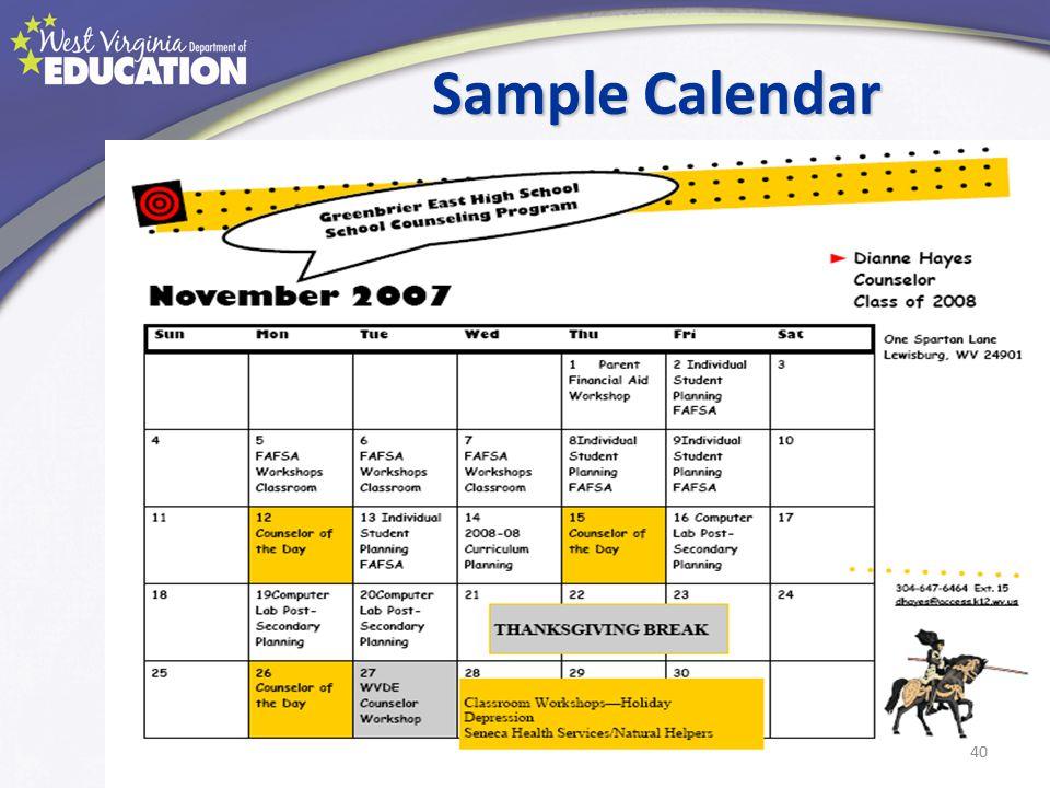 Sample Calendar 40