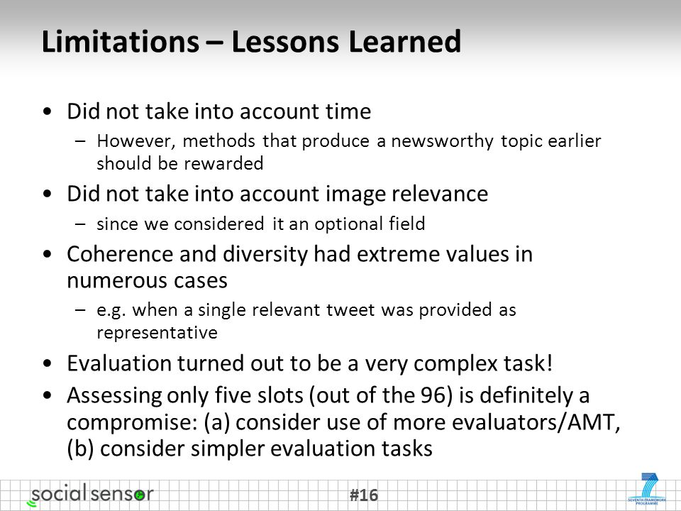 Limitations – Lessons Learned Did not take into account time –However, methods that produce a newsworthy topic earlier should be rewarded Did not take into account image relevance –since we considered it an optional field Coherence and diversity had extreme values in numerous cases –e.g.