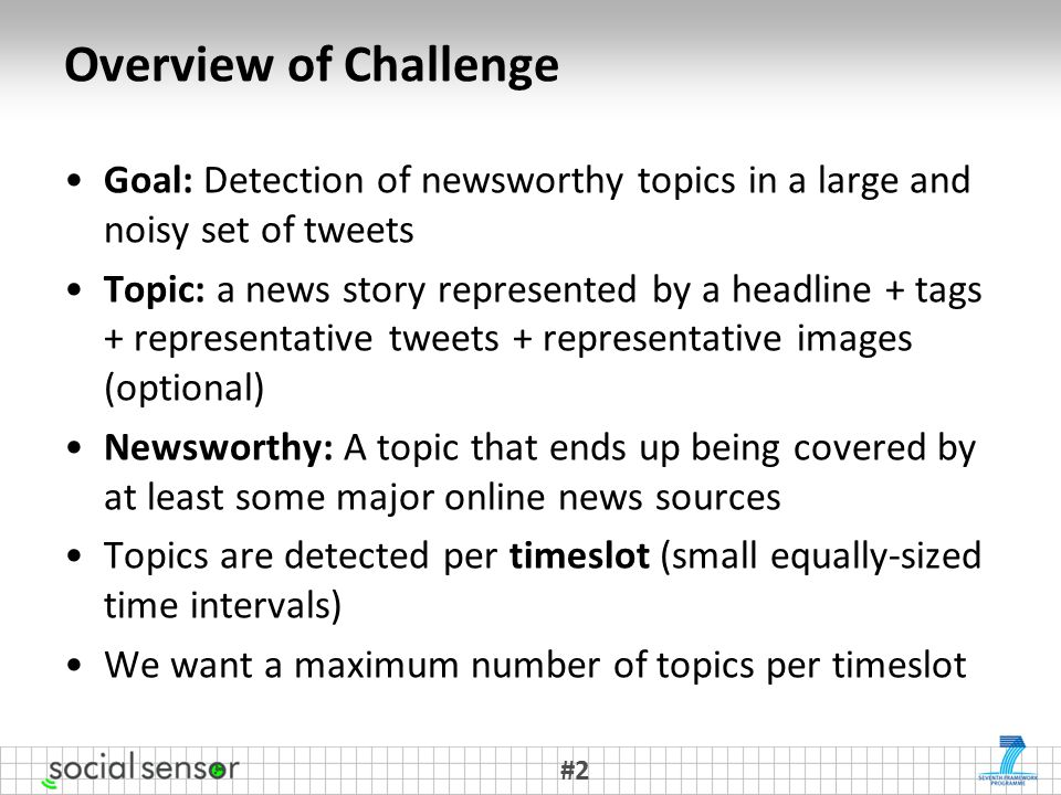 Overview of Challenge Goal: Detection of newsworthy topics in a large and noisy set of tweets Topic: a news story represented by a headline + tags + representative tweets + representative images (optional) Newsworthy: A topic that ends up being covered by at least some major online news sources Topics are detected per timeslot (small equally-sized time intervals) We want a maximum number of topics per timeslot #2