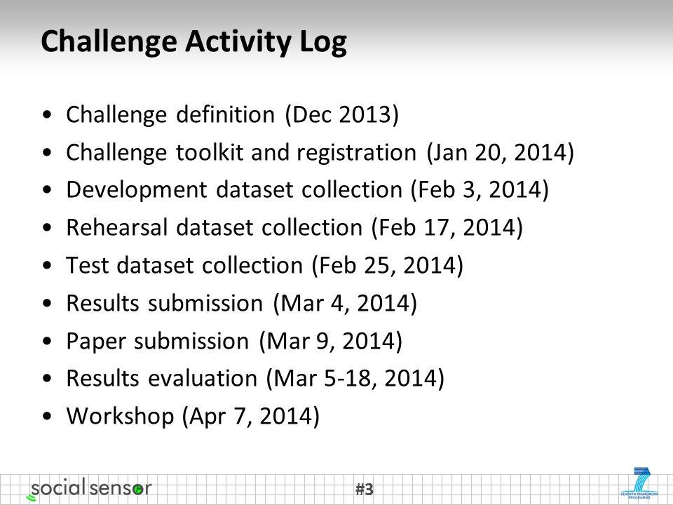 Challenge Activity Log Challenge definition (Dec 2013) Challenge toolkit and registration (Jan 20, 2014) Development dataset collection (Feb 3, 2014) Rehearsal dataset collection (Feb 17, 2014) Test dataset collection (Feb 25, 2014) Results submission (Mar 4, 2014) Paper submission (Mar 9, 2014) Results evaluation (Mar 5-18, 2014) Workshop (Apr 7, 2014) #3