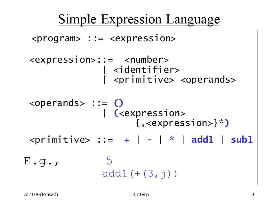 cs7100(Prasad)L8Interp3 Simple Expression Language ::= | ::= () | ( {, }*) ::= + | - | * | add1 | sub1 E.g., 5 add1(+(3,j))