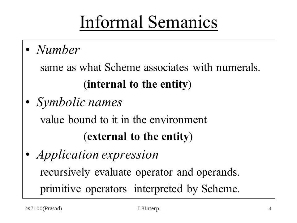 cs7100(Prasad)L8Interp4 Informal Semanics Number same as what Scheme associates with numerals.