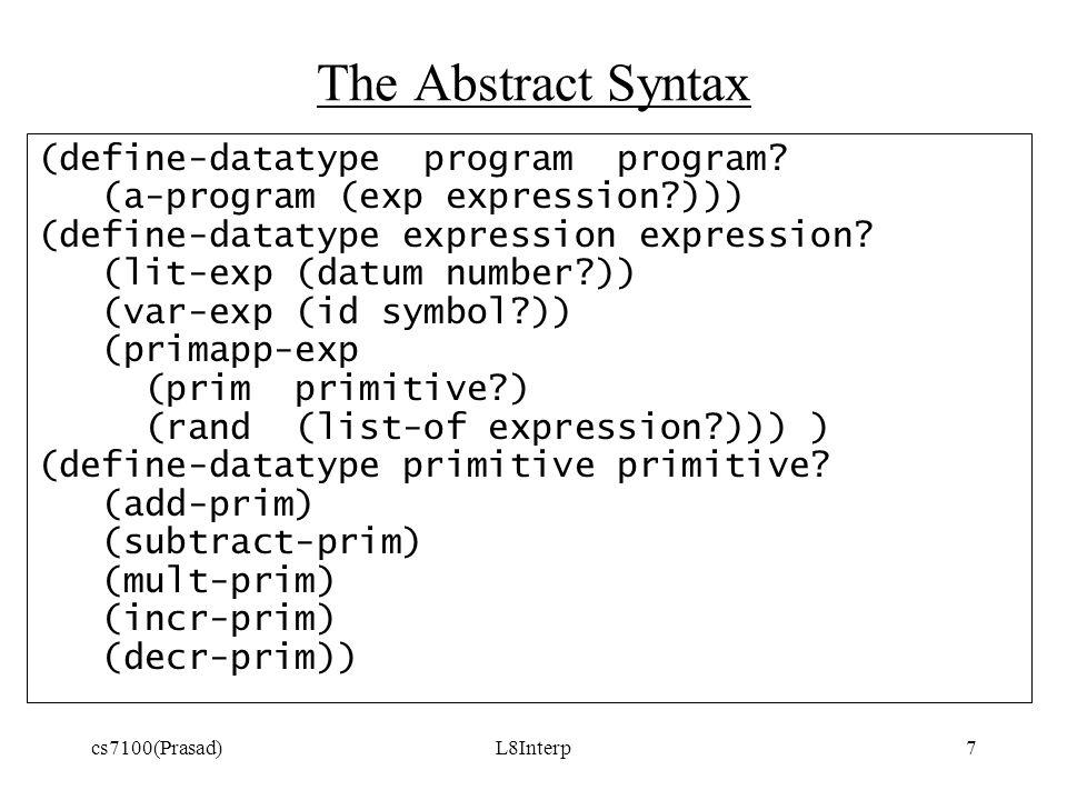 cs7100(Prasad)L8Interp7 The Abstract Syntax (define-datatype program program.