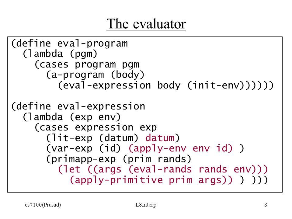 cs7100(Prasad)L8Interp8 The evaluator (define eval-program (lambda (pgm) (cases program pgm (a-program (body) (eval-expression body (init-env)))))) (define eval-expression (lambda (exp env) (cases expression exp (lit-exp (datum) datum) (var-exp (id) (apply-env env id) ) (primapp-exp (prim rands) (let ((args (eval-rands rands env))) (apply-primitive prim args)) ) )))