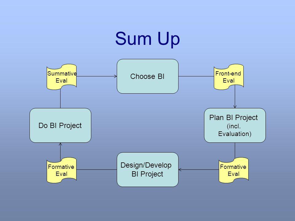 Sum Up Choose BI Plan BI Project (incl.
