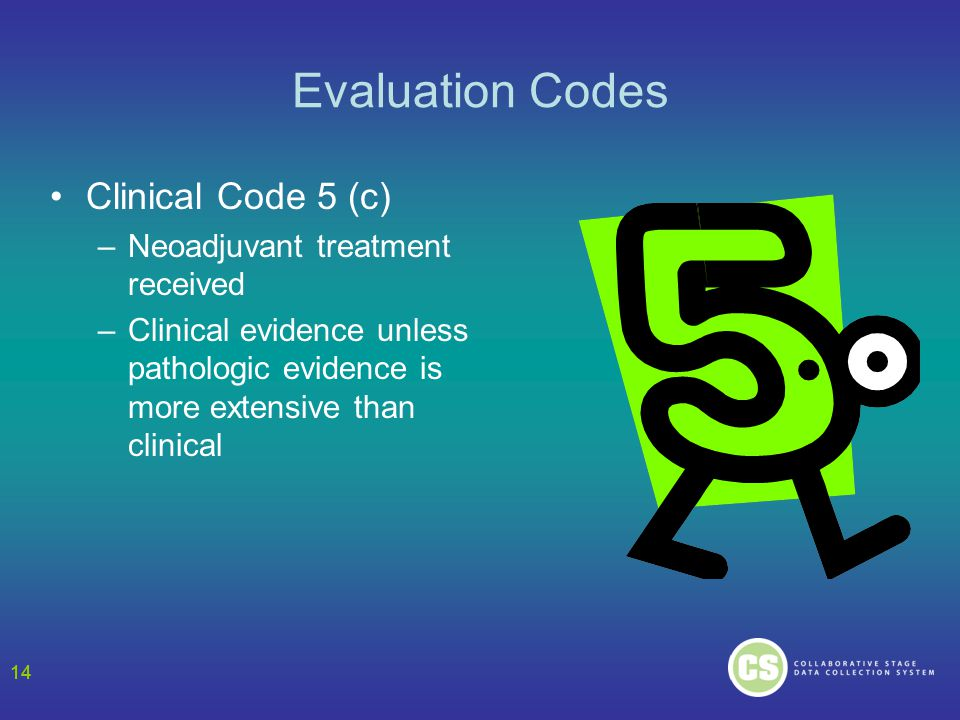 14 Evaluation Codes Clinical Code 5 (c) –Neoadjuvant treatment received –Clinical evidence unless pathologic evidence is more extensive than clinical 14