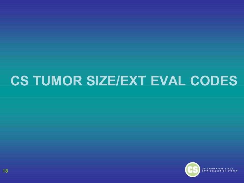 18 CS TUMOR SIZE/EXT EVAL CODES 18