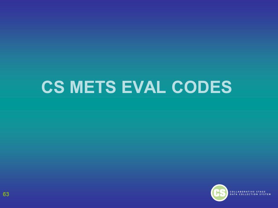 63 CS METS EVAL CODES 63