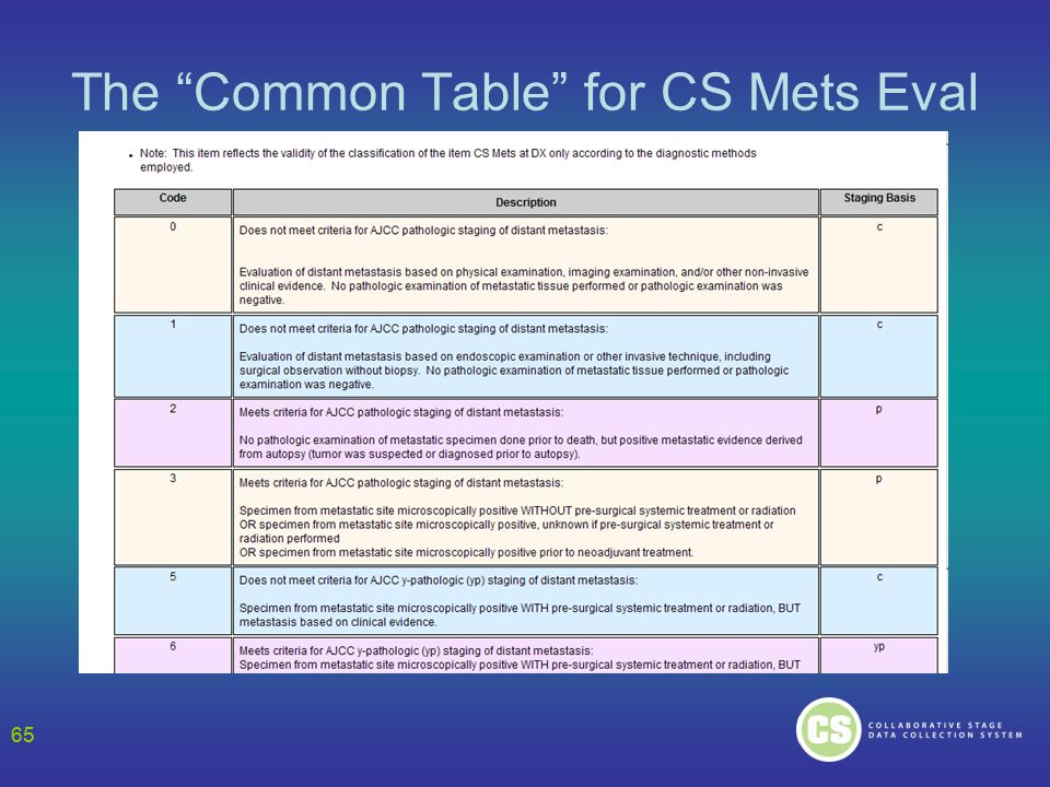 65 The Common Table for CS Mets Eval 65