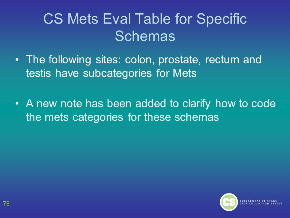 76 CS Mets Eval Table for Specific Schemas The following sites: colon, prostate, rectum and testis have subcategories for Mets A new note has been added to clarify how to code the mets categories for these schemas 76