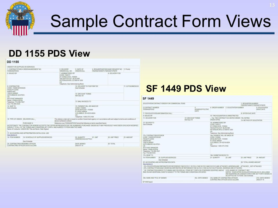 13 SF 1449 PDS View DD 1155 PDS View Sample Contract Form Views