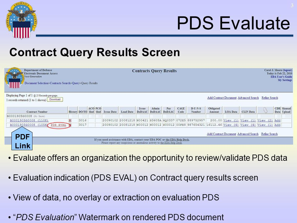 3 PDS Evaluate Evaluate offers an organization the opportunity to review/validate PDS data Evaluation indication (PDS EVAL) on Contract query results screen View of data, no overlay or extraction on evaluation PDS PDS Evaluation Watermark on rendered PDS document Contract Query Results Screen PDF Link