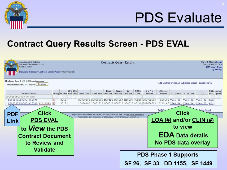 4 Click PDS EVAL to View the PDS Contract Document to Review and Validate PDS Phase 1 Supports SF 26, SF 33, DD 1155, SF 1449 PDS Evaluate Contract Query Results Screen - PDS EVAL Click LOA (#) and/or CLIN (#) to view EDA Data details No PDS data overlay PDF Link
