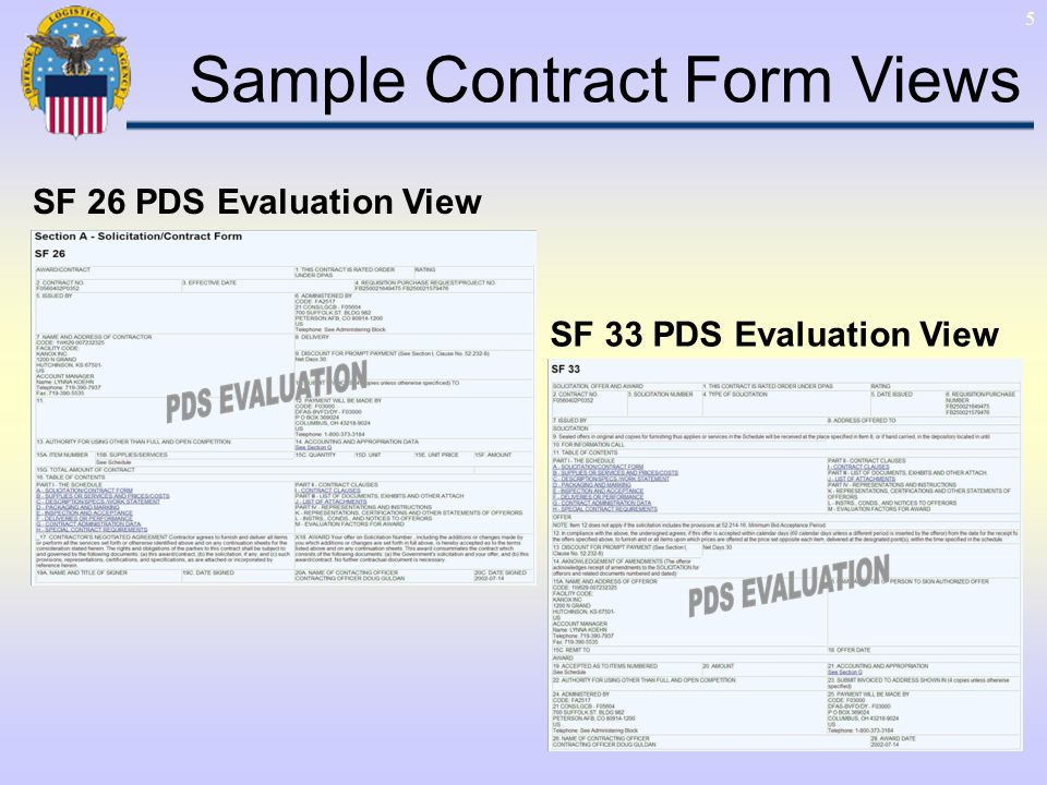 5 SF 26 PDS Evaluation View SF 33 PDS Evaluation View Sample Contract Form Views