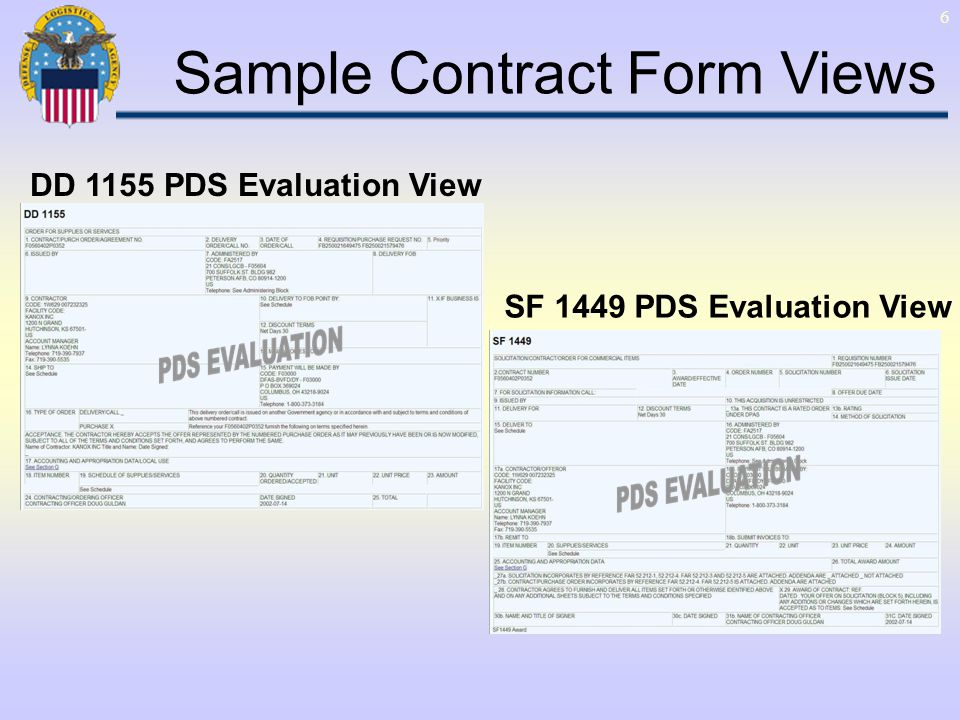 6 SF 1449 PDS Evaluation View DD 1155 PDS Evaluation View Sample Contract Form Views