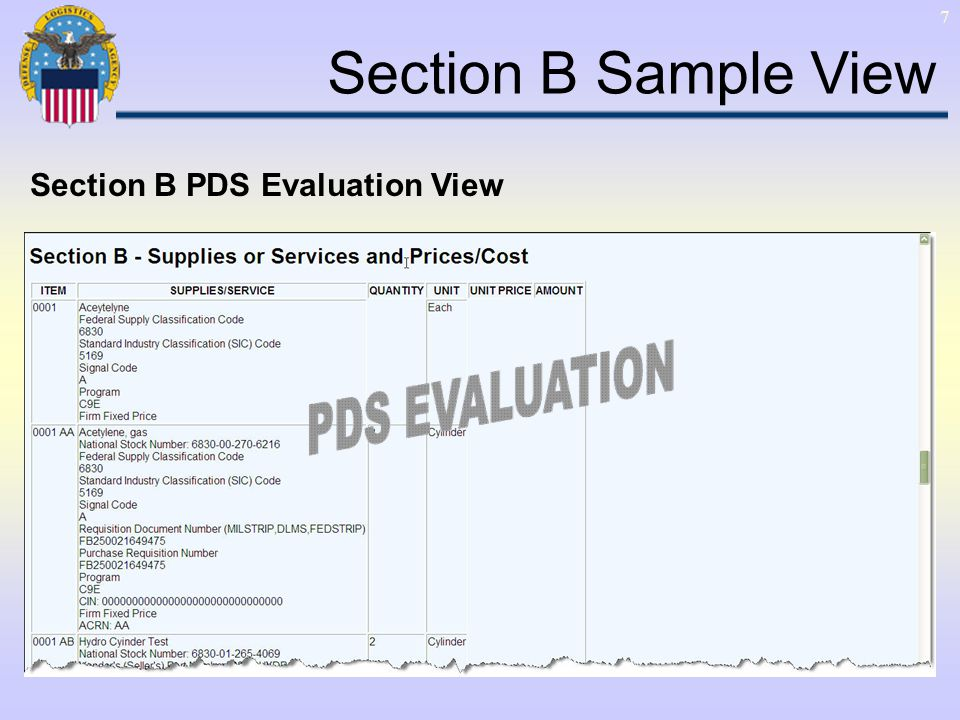 7 Section B Sample View Section B PDS Evaluation View