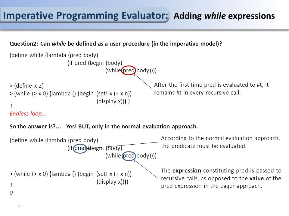 11 Question2: Can while be defined as a user procedure (in the imperative model)? (define while (lambda (pred body) (if pred (begin (body) (while pred