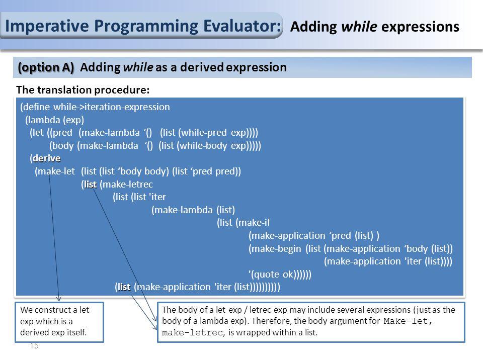 The translation procedure: (define while->iteration-expression (lambda (exp) (let ((pred (make-lambda '() (list (while-pred exp)))) (body (make-lambda