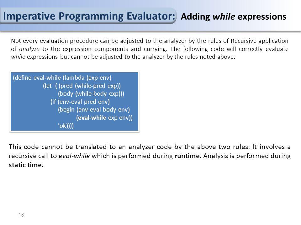 (define eval-while (lambda (exp env) (let ( (pred (while-pred exp)) (body (while-body exp))) (if (env-eval pred env) (begin (env-eval body env) (eval-